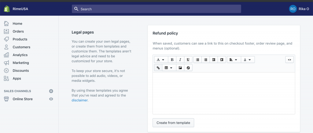 How to add a Policy in Shopify